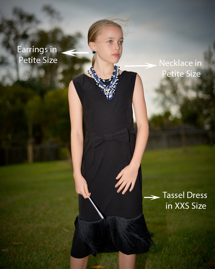 Holly Black Fringe Dress & Oversized Jewelry Set Inspired By Breakfast At Tiffany's