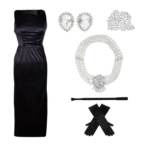 Holly Gift Boxed Premium 5 Piece Satin Dress & Accessories Set Inspired By Breakfast At Tiffany's - Utopiat