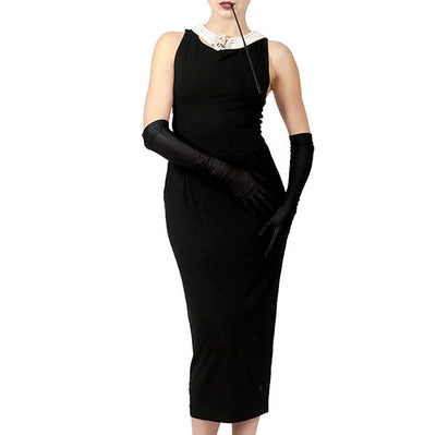 Holly Iconic Black Dress In Cotton - Breakfast At Tiffany's