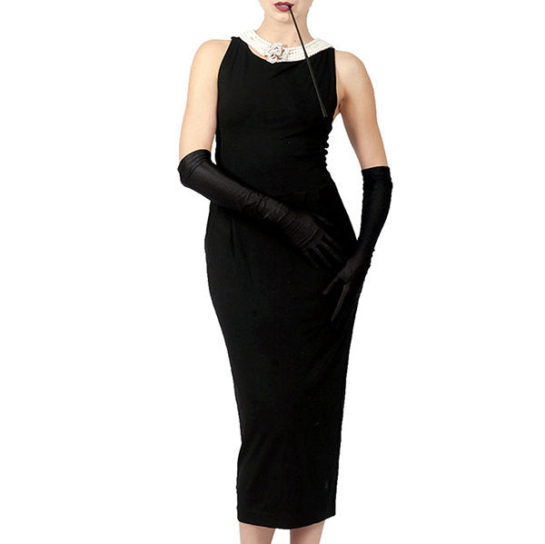 Holly Iconic Black Dress In Cotton Inspired By Breakfast At Tiffany's - Utopiat