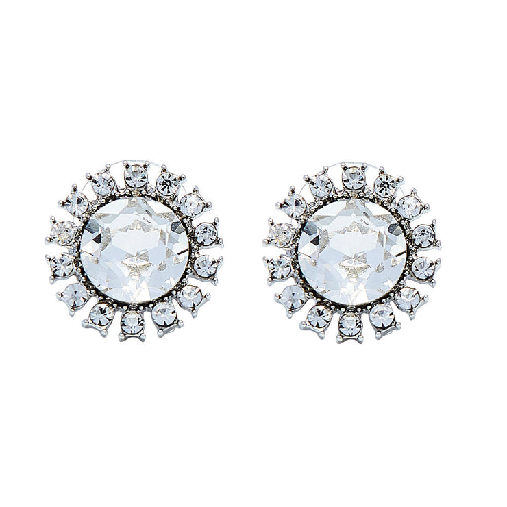 bezel adorned set faux mary products studs square cz diamond