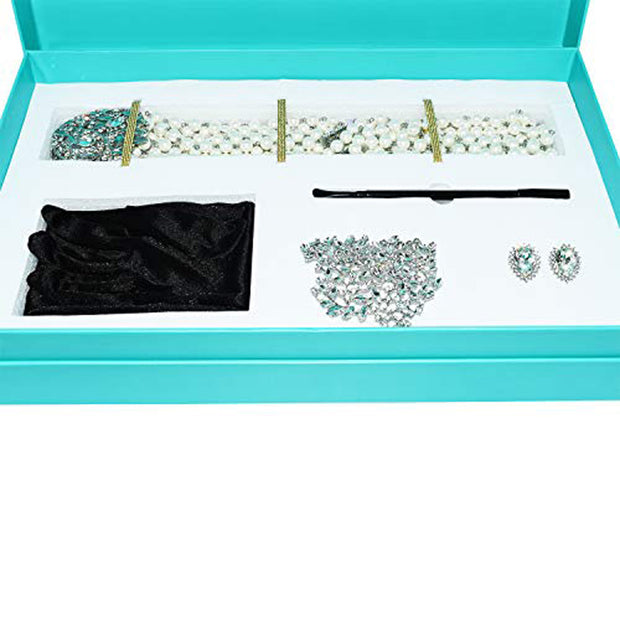 Holly Gift Boxed Premium 5 Piece Satin Dress & Accessories Set Inspired By Breakfast At Tiffany's