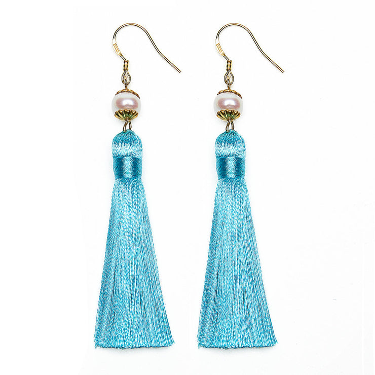Breakfast at Tiffany's - Holly Tassels and Pearl Earrings in Tiffany Blue