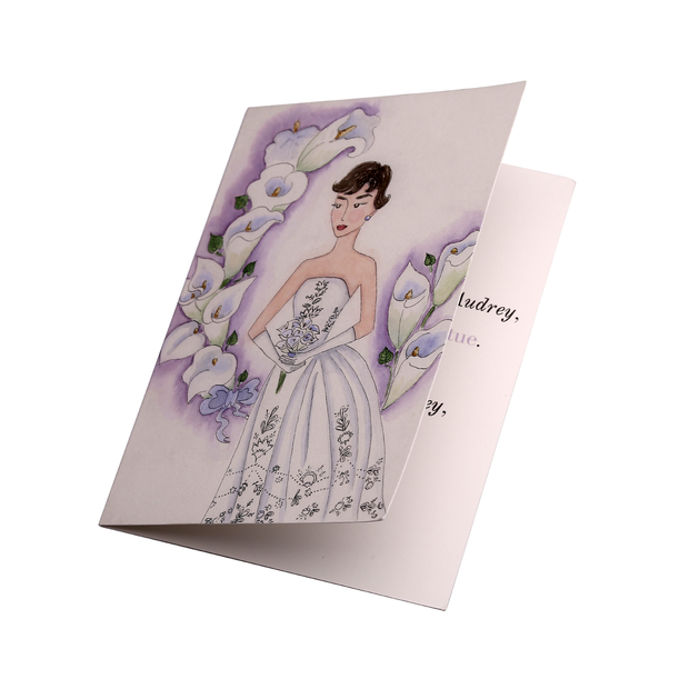 Audrey + the White Lily Hand Illustrated Greeting Card - Utopiat