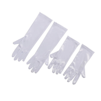 Breakfast at Tiffany's - Mini Holly Long White Satin Gloves