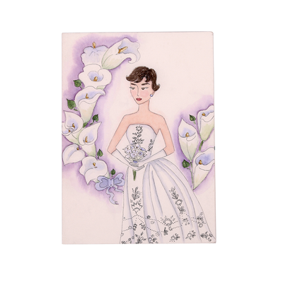 Audrey + the White Lily Hand Illustrated Greeting Card