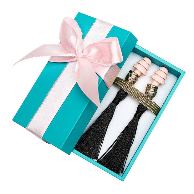 Breakfast at Tiffany's - Holly Gift Boxed Tassel Ear Plugs in Midnight Black