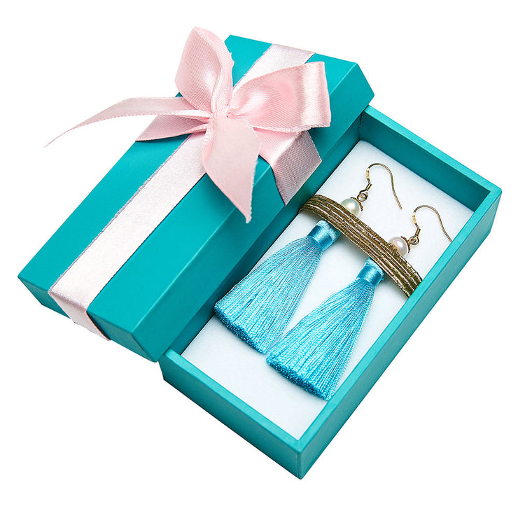 Holly Tassels and Pearl Earrings in Tiffany Blue Inspired By Breakfast At Tiffany's - Utopiat
