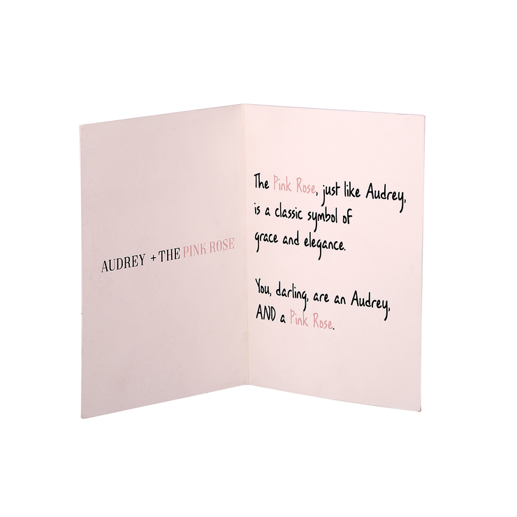 Audrey + The Pink Rose Hand Illustrated All Occasion Greeting Card - Utopiat