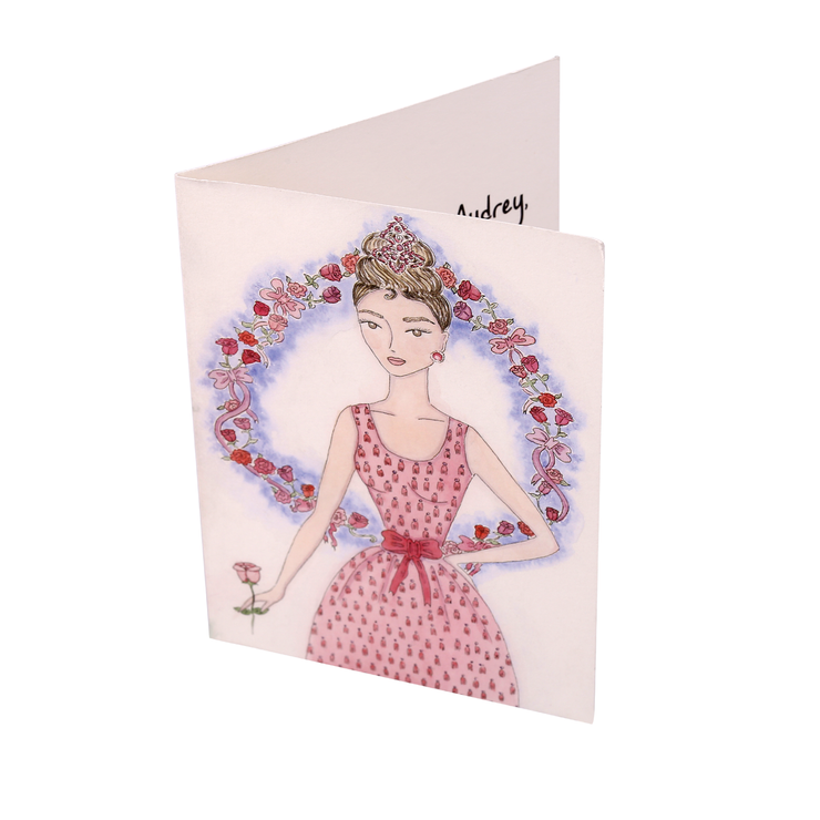 Audrey + The Pink Rose Hand Illustrated All Occasion Greeting Card