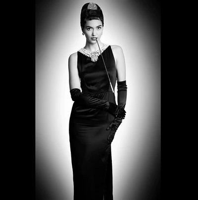 Holly Iconic Black Dress In Satin Inspired By Breakfast At Tiffany's - Utopiat