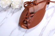Princess Ann Gladiator Caramel Brown Sandals Inspired by Roman Holiday