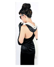Holly Iconic Black Dress In Satin Inspired By Breakfast At Tiffany's