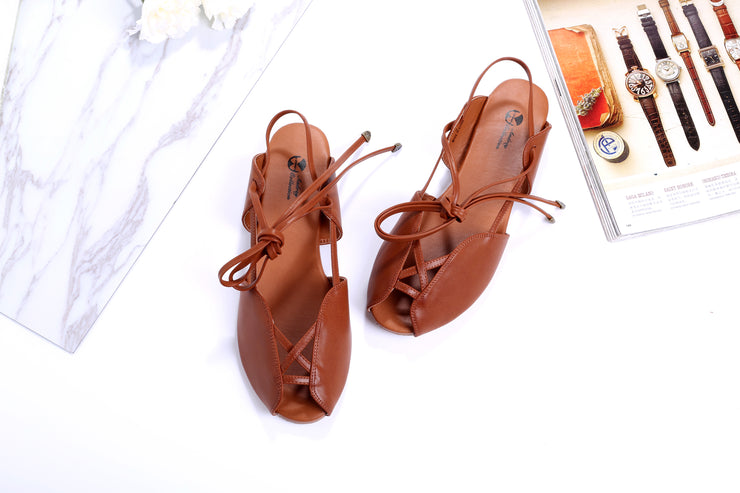 Princess Ann Gladiator Caramel Brown Sandals – Roman Holiday