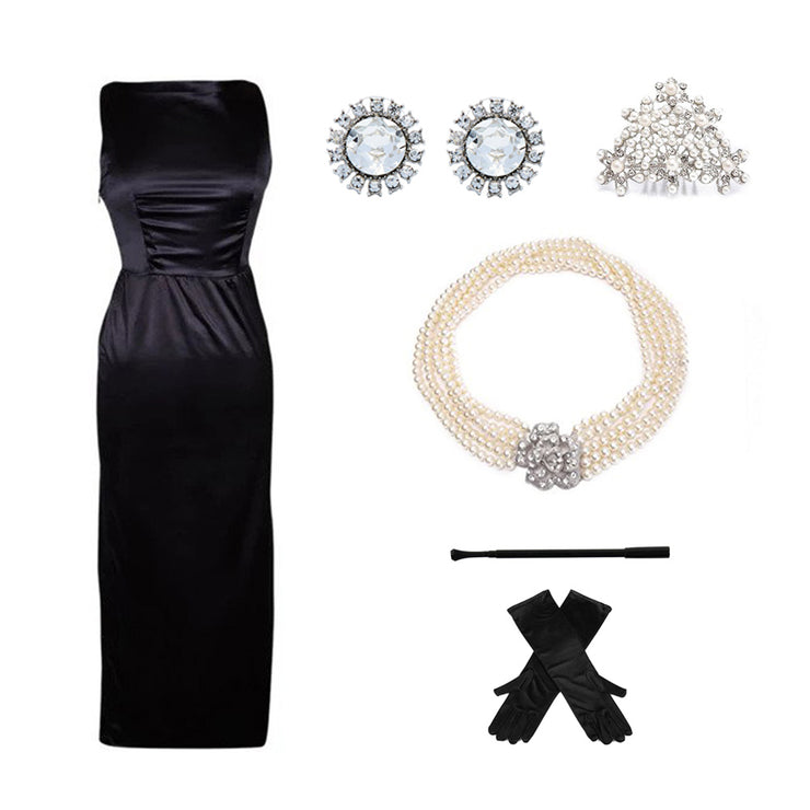 Holly Iconic Black Dress Costume Set In Satin Inspired By Breakfast At Tiffany's - Utopiat