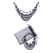 Holly Navy Tiered Bead Necklace Inspired By Breakfast At Tiffany's - Utopiat
