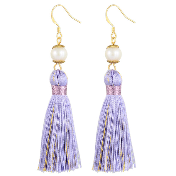 Breakfast at Tiffany's - Holly Tassels and Pearl Earrings in Sparkling Lavender