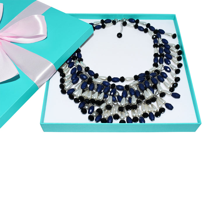 Holly Navy Tiered Bead Necklace - Breakfast At Tiffany's