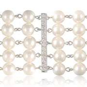 Holly Premium 5 Strand Pearl & Crystal Necklace Inspired By Breakfast At Tiffany's - Utopiat