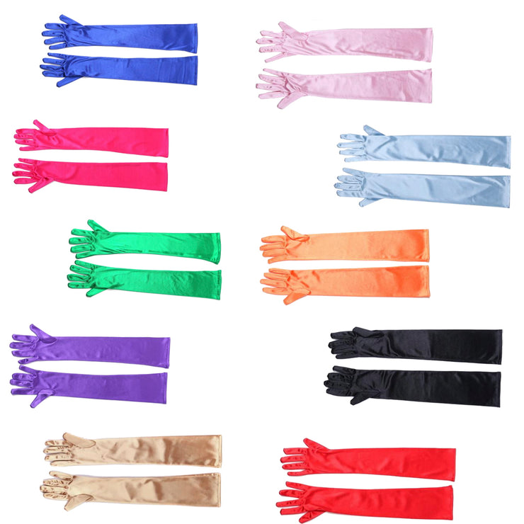 Premium Long Gloves In Colorful Satin, Audrey Hepburn Inspired