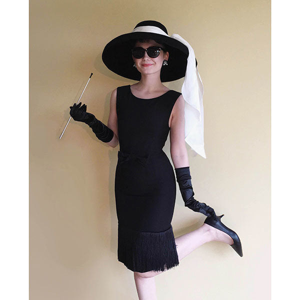 Breakfast at Tiffany's - Holly Oversized Wool Hat and Black Fringe Dress Costume Set