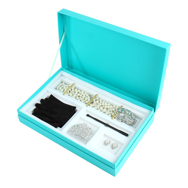 Gift Boxed Audrey Hepburn Breakfast at Tiffany's Premium Crystal Costume Accessories 5 Piece Set Necklace, Tiara, Earrings