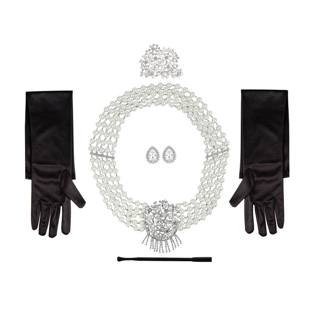Audrey Hepburn Breakfast at Tiffany's Premium Crystal Costume Accessories 5 Piece Set Necklace, Tiara, Earrings