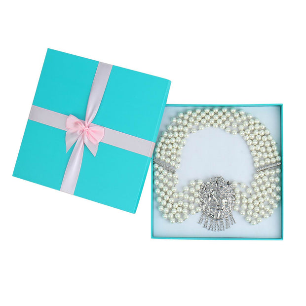 Holly Gift Boxed Premium 5 Strand Pearl & Crystal Necklace - Breakfast At Tiffany's