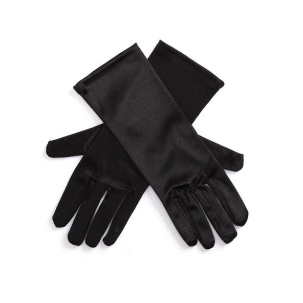 Breakfast at Tiffany's - Mini Holly Long Black Satin Gloves