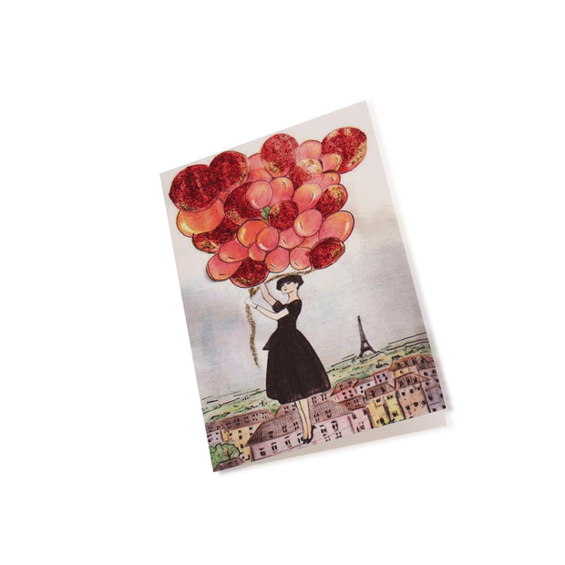 Birthday Greeting Card - Audrey + The Red Balloons above Parisian skyescape - Utopiat