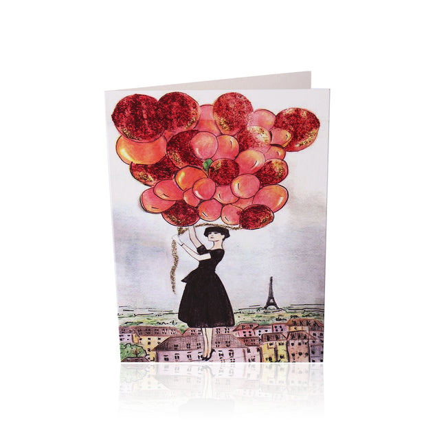 Birthday Greeting Card: Audrey + the Red Balloons above Parisian skyescape