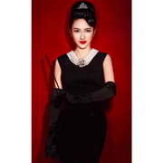 Breakfast at Tiffany's - Holly Iconic Black Dress Costume Set in Cotton