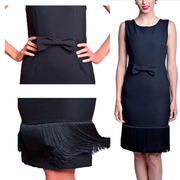 Holly Black Fringe Dress & Accessories Set Inspired By Breakfast At Tiffany's - Utopiat