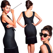 Holly Black Fringe Dress & Accessories Set - Breakfast At Tiffany's