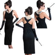 Holly Iconic Black Dress Costume Set In Cotton Inspired By Breakfast At Tiffany's - Utopiat