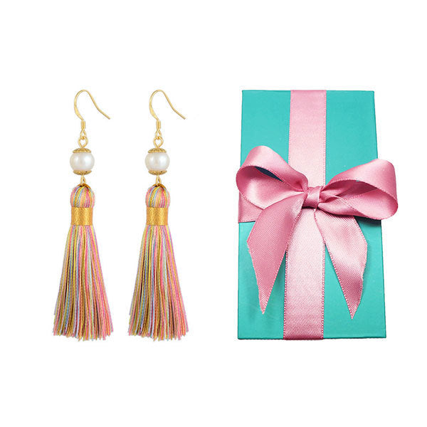 Breakfast at Tiffany's - Holly Gift Boxed Tassels and Pearl Earrings in Magic Rainbow