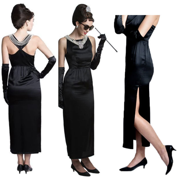 Holly Iconic Black Dress In Satin - Breakfast At Tiffany's