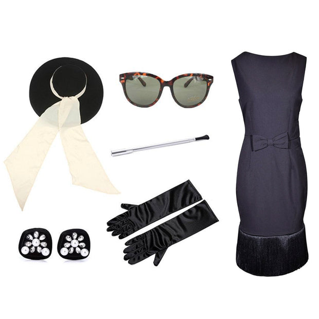 092b534ab3ef Holly Oversized Wool Hat   Fringe Dress Costume Set - Breakfast At Tiffany s