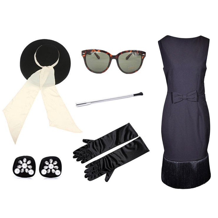 Holly Oversized Wool Hat & Fringe Dress Costume Set - Breakfast At Tiffany's