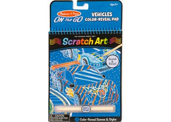 On the Go SCRATCH ART activity pad VEHICLES