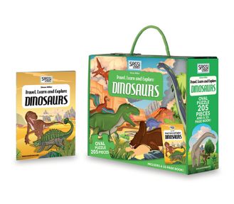 Travel, Learn and Explore Puzzle and Book Set - DINOSAURS