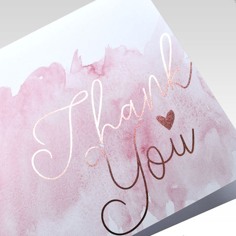 Thank You Card Water colour rose gold