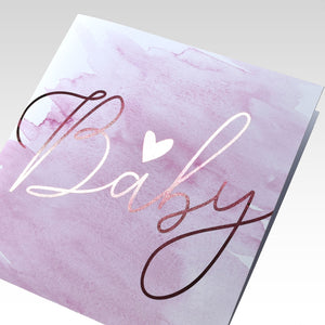 BABY Watercolour pink Card