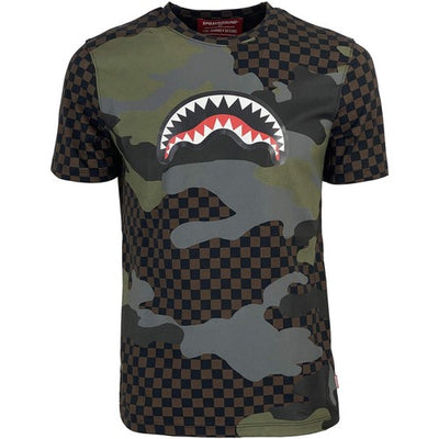 SPRAYGROUND T-SHIRT CAMO SHARK MARRON