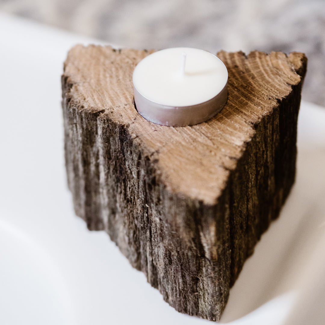 Wooden Triangle Post Tea Light Holder