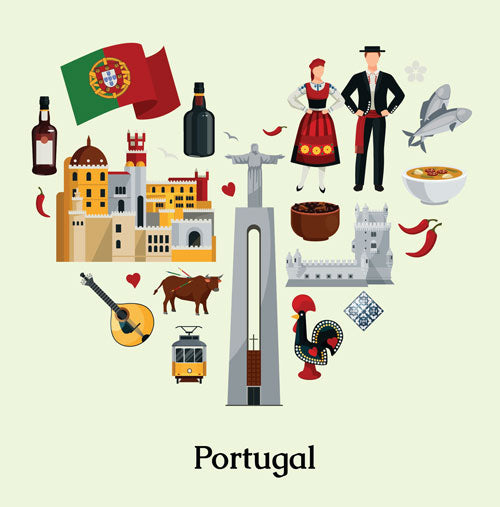 Portuguese Symbols - Flag, Food and Architecture.