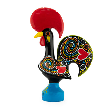 Barcelos Black Ceramic Portuguese Lucky Rooster Figurine