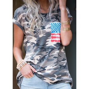 Short Sleeve Camouflage T Shirts Womens O-Neck Military Army Cotton Top - Enkeechi, online shopping USA,  online womens clothes shopping