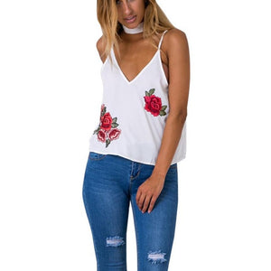 Sleeveless Tank Crop with Roses - Enkeechi, online shopping USA,  online womens clothes shopping