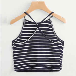 Striped Crop with Criss cross backline - Enkeechi, online shopping USA,  online womens clothes shopping